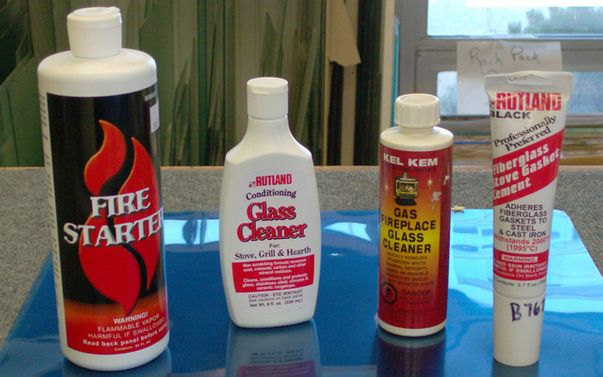 Glass fireplace cleaning supplies